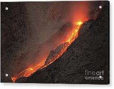 Extrusion Of Lava On Glowing Rockfalls Acrylic Print by Richard Roscoe