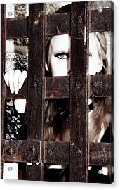 Eye See You From Behind The Bars Acrylic Print by Jim Poulos