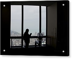 Eyes Down From The 103rd Floor Texting From The Top Of The World Acrylic Print by Thomas Woolworth