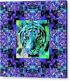 Eyes Of The Bengal Tiger Abstract Window 20130205m80 Acrylic Print by Wingsdomain Art and Photography