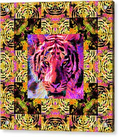 Eyes Of The Bengal Tiger Abstract Window 20130205p80 Acrylic Print by Wingsdomain Art and Photography