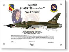 Acrylic Print featuring the digital art F-105g Thunderchief Wild Weasel by Arthur Eggers