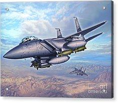 F-15e Desert Eagles Acrylic Print by Stu Shepherd