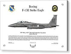 F-15e Strike Eagle 442d Tes Acrylic Print by Arthur Eggers