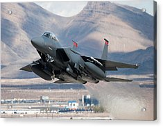 F-15e Strike Eagle Flying Past Mountains Acrylic Print by CT757fan