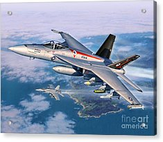 F-18e Super Hornet Acrylic Print by Stu Shepherd