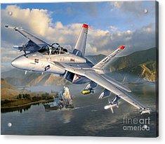 F-18f Stopping Maritime Terror Acrylic Print by Stu Shepherd