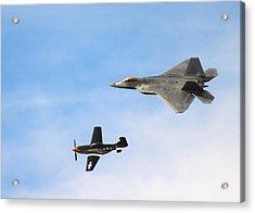 F-22 And P-51 Heritage Flight Acrylic Print
