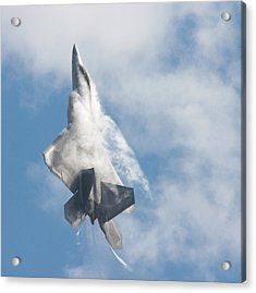 Acrylic Print featuring the photograph F-22 Raptor Creates Its Own Cloud Camouflage by Nathan Rupert