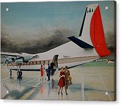 F-27 At Columbus Ohio Acrylic Print by Frank Hunter