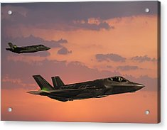 F-35 Fıghter Jets In Flight At Sunset Acrylic Print by Guvendemir