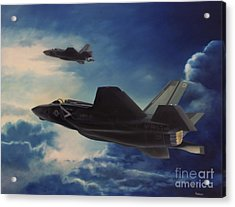Acrylic Print featuring the painting F-35b Lightening II by Stephen Roberson