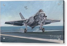 Acrylic Print featuring the painting F-35c Carrier Landing by Stephen Roberson