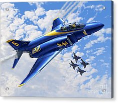 F-4 Phantoms In Blue Acrylic Print by Stu Shepherd