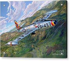 F-84 Thunderjet Over Korea Acrylic Print by Stu Shepherd