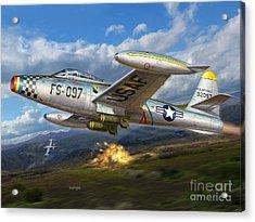 F-84e Thunderstrike Acrylic Print by Stu Shepherd