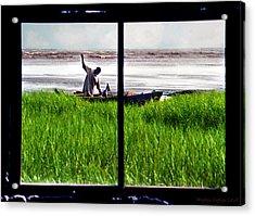 Fisherman Window Framed Acrylic Print