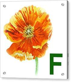 F Stands For Flower Art Alphabet For Kids Room Acrylic Print by Irina Sztukowski
