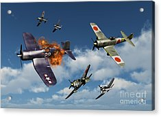 F4u Corsair Aircraft And Japanese Acrylic Print