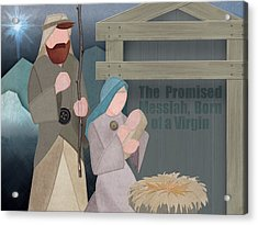 Acrylic Print featuring the drawing Fabric Nativity by Michele Engling