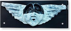 Fabulas Black And White Cherub Acrylic Print
