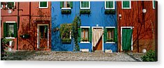 Facade Of Houses, Burano, Veneto, Italy Acrylic Print by Panoramic Images