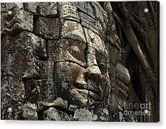 Face At Banyon Ankor Wat Cambodia Acrylic Print by Bob Christopher