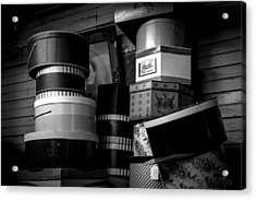 Face Behind The Hat Boxes Acrylic Print by Bob Orsillo