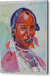 Face From Sudan  2 Acrylic Print by Mohamed Fadul