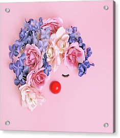 Face Made From Flowers And False Acrylic Print by Juj Winn