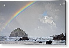 Face Rock Rainbow Acrylic Print