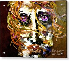 Face Series 4 Knowing Acrylic Print by Michelle Dommer