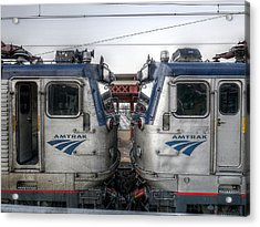 Face To Face On Amtrak Acrylic Print by Richard Reeve