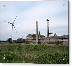 Factory And Wind Turbine Acrylic Print by Robert Brook