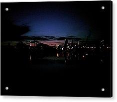 Factory Fjord Sunset Acrylic Print by Jonathan Laverick