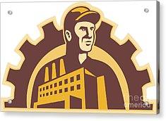 Factory Worker Building Gear Cog Retro Acrylic Print by Aloysius Patrimonio