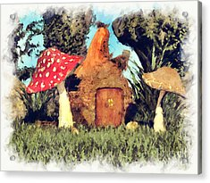 Fairy House With Toadstool Acrylic Print
