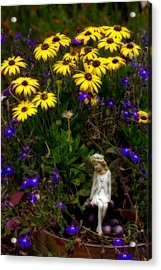 Fairy In Garden Pot Acrylic Print by Dave Garner