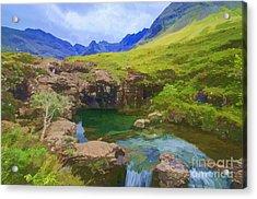 Fairy Pools Of Skye Watercolour Acrylic Print
