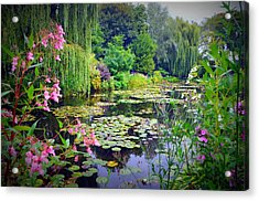 Fairy Tale Pond With Water Lilies And Willow Trees Acrylic Print