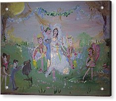 Acrylic Print featuring the painting Fairy Wedding by Judith Desrosiers