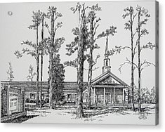 Acrylic Print featuring the drawing Faith Presbyterian Church by Gloria Turner
