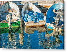 Faithful Working Boats Acrylic Print by Joan Herwig