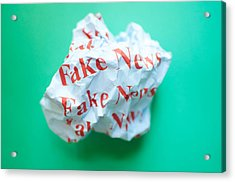 Fake News Against Blue Green Background Acrylic Print by Karl Tapales