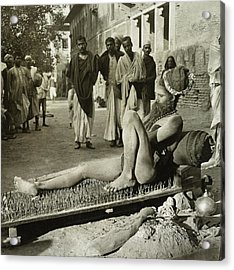 Fakir On His Bed Of Spikes Acrylic Print by Library Of Congress