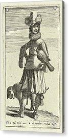 Falconer With Hunting, Jan Van De Velde II Acrylic Print by Jan Van De Velde (ii) And Robert De Baudous
