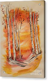 Acrylic Print featuring the painting Fall Aspen On Paper by Janice Rae Pariza