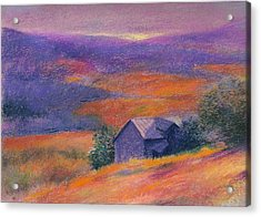 Acrylic Print featuring the painting Fall Barn Pastel Landscape by Judith Cheng