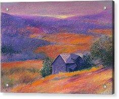 Fall Barn Pastel Landscape Acrylic Print by Judith Cheng