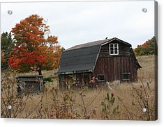 Acrylic Print featuring the photograph Fall Barn by Paula Brown